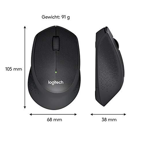 Logitech M330 Silent Plus, Kabellose Maus, 2.4 GHz Verbindung via Nano USB-Empfänger, 1000 DPI Optischer Sensor, 24-Monate Akkulaufzeit, 3 Tasten, PC/Mac – Schwarz - 8