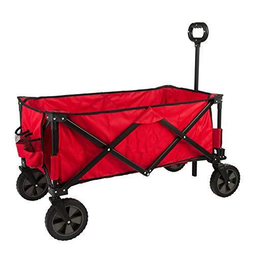 GOJOOASIS Chariot de transport pliable avec poignée extensible - Pivote à 360° (rouge)