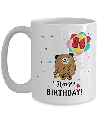 N\A 24 años de Edad, 24 cumpleaños, Regalo de Feliz cumpleaños para Hombres, Mujeres, niños, Lindo Oso Patito, Taza de té Kawaii, Taza de café, Taza Divertida, Regalo de té para Padre '