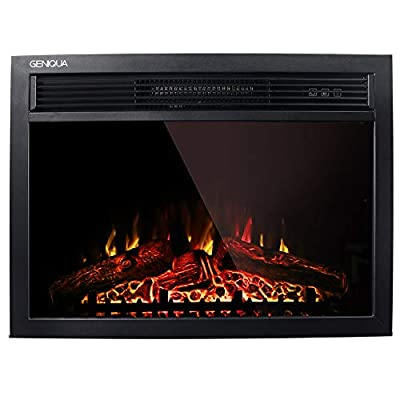 """Geniqua 23"""" Wall Mounted Electric Fireplace Insert Heater 1400W Log LED Flame Remote Adjustable Heat Stove Indoor Warm"""