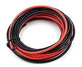Câble électrique TUOFENG de calibre 14, fil en silicone 14 AWG, 10 m [5 m, noir et 5 m en rouge] Câble de branchement flexible de fil de cuivre étamé pour l'avion DIY