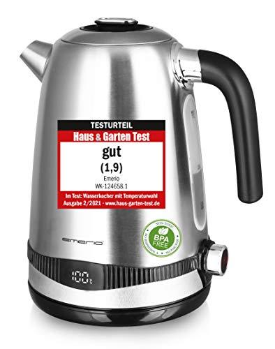 Emerio WK-124658.1 Edelstahl Wasserkocher, 1.7 Liter, 2200 Watt, Temperaturwahl [40°|50°|60°|70°|80°|90°|100°C], 360° Basis, Warmhaltefunktion, Display mit Temperaturanzeige, BPA frei, Silber