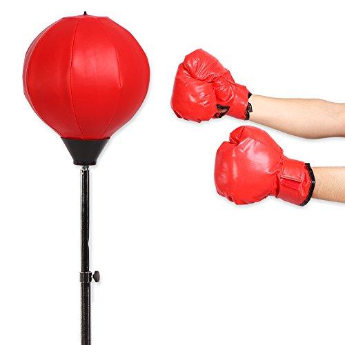 Walfront Punchingball Boxstand Höhenverstellbarer Boxsack Boxbirnen Standbox Trainer Erwachsene Boxtraining mit Boxhandschuhen und Ständer 120-150 cm Rot