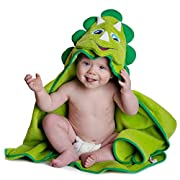 Little Tinkers World Hooded Baby Towel Dinosaur Natural Cotton Soft and Absorbent Bath Towels with Hood for Babies, Toddlers, Perfect