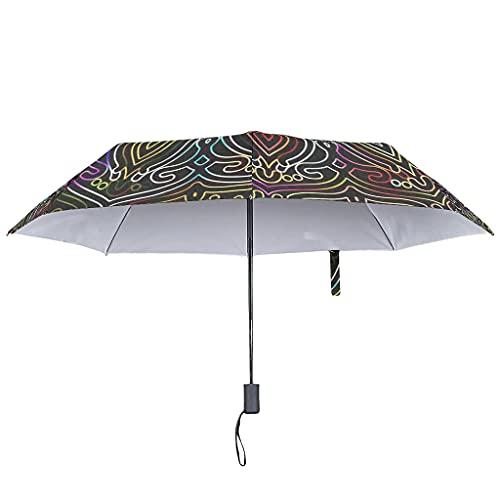 Paraguas de lluvia de oro mágico, abierto y cerrado, bohemio, resistente al viento y al agua, 8 varillas invertidas