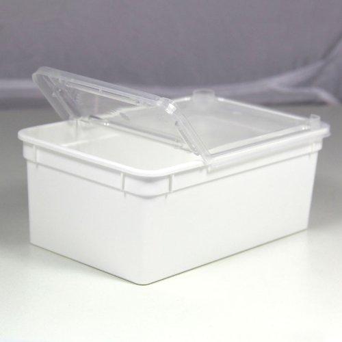 BraPlast Dose 1,3 Liter 18,5 x 12,5 x 7,5 cm - weiß mit transparentem Deckel/Kunststoff Stapelbox
