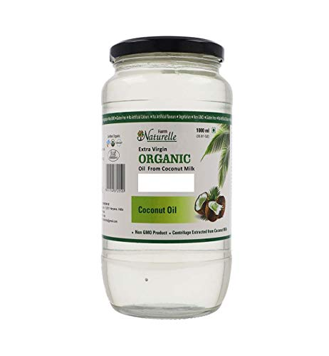 Farm Naturelle -100 % Pure Organic Extra-Virgin Cold Pressed Coconut Oil (Glass Bottle - 1000 ml)