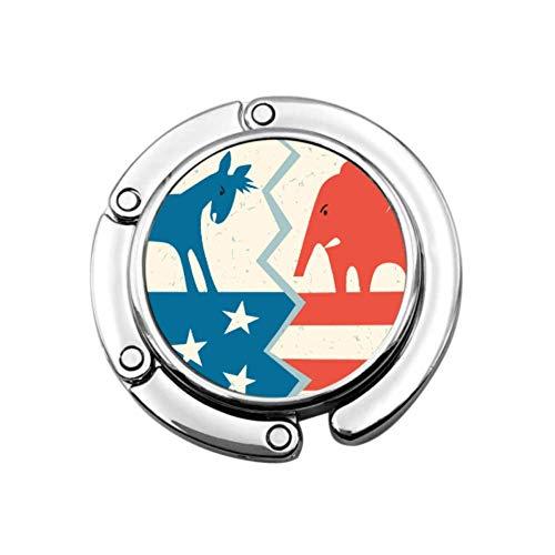 Asino democratico contro elefante repubblicano Borsa politica portatile Portabiti Portabiti da tavolo Portabiti Appendiabiti Disegni unici Sezione pieghevole Porta-abiti Portabiti