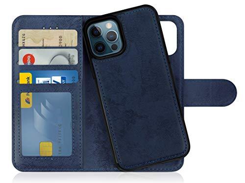 MyGadget Funda Flip Case con Tapa Tarjetera para Apple iPhone 12/12 Pro en Cuero PU - Carcasa Cerrada con 9 Bolsillos - Cubierta Magnética Separable - Azul Oscuro