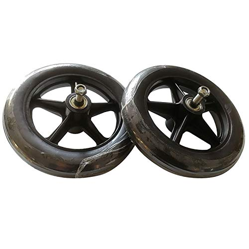 7inch Wheelchair Replacement Wheels, Solid Tires Front Caster With Bearing Anti-Slip Rubber Wheels For Wheelchairs Rollators Walkers (2 Pack)