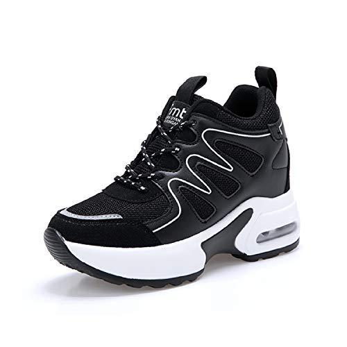 AONEGOLD Sneakers Zeppa Donna Scarpe da Ginnastica Sportive Fitness Scarpe con Zeppa Interna Tacco 7 cm(Nero,38 EU)