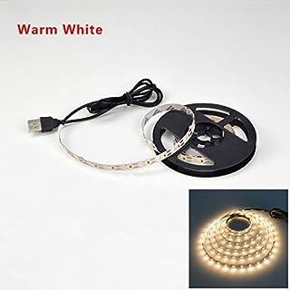 Cinta de luz 2835SMD DC5V LED tira flexible USB LED lámpara de la cinta 1M 2M iluminación retroiluminación de la pantalla Bias 3M 4M 5M HDTV Desktop (Emitting Color: Warm White)