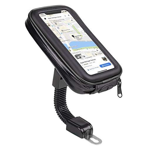 otutun Soporte Móvil Moto,Soporte Movil bici Retrovisor Universal Soporte,360° Rotación Soporte Telefono Motocicleta para Teléfonos Moto con Pantalla Táctil Sensible hasta 6.5'(negro)