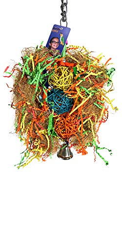 Birds LOVE Bad Hair Day Bird Toy for Medium Parrots, Preening Chewing Foraging Toy for Cage, African Grey Eclectus Cockatoos Amazons Mini Macaws