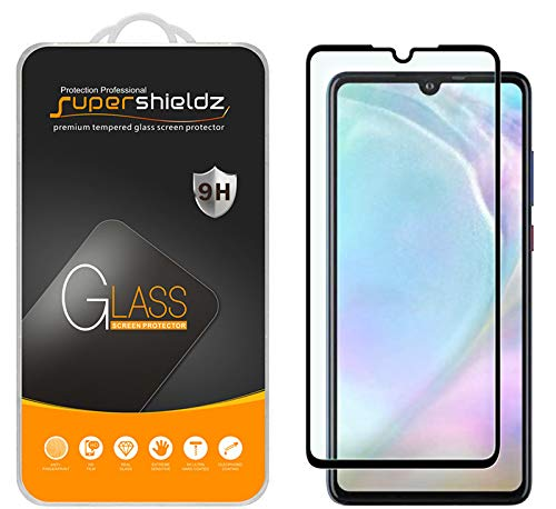 (2 Pack) Supershieldz for Huawei P30 Tempered Glass Screen Protector, (Full Screen Coverage) 0.33mm, Anti Scratch, Bubble Free (Black)