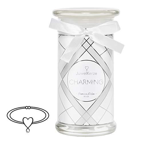 JuwelKerze Schmuckkerze 'Charming' große weiß Duftkerze mit echtem 925er Sterlingsilber Schmuck (Armband) - Kerze mit Schmucküberraschung als Geschenk für sie