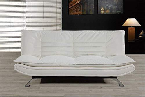 HOGAR24 Sofá Cama Clic Clac Piel Ecológica y Patas Cromadas, Color Blanco.