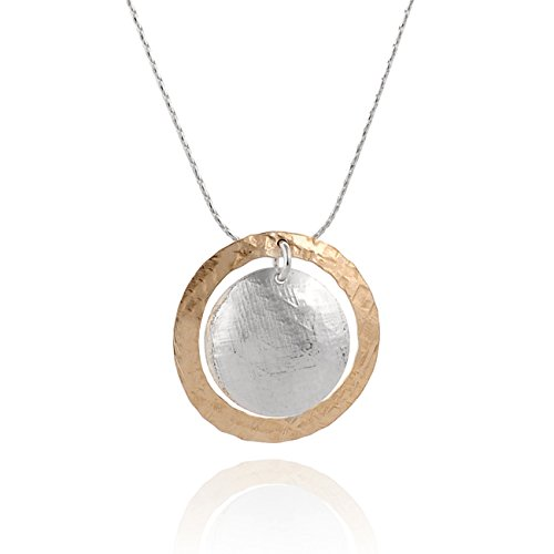 Stera Jewelry Silver & 14k Gold Filled Hand Hammered Circle and Disc Pendant Necklace, 18 + 4 Inches