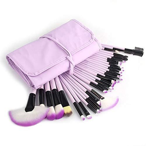GBY Pinceaux de maquillage professionnel 32 pièces Ensemble de pinceaux de maquillage Kabuki synthétique pour fond de teint Blush Visage Eyeliner Ombre maquillage, Fibre synthétique., violet, Free