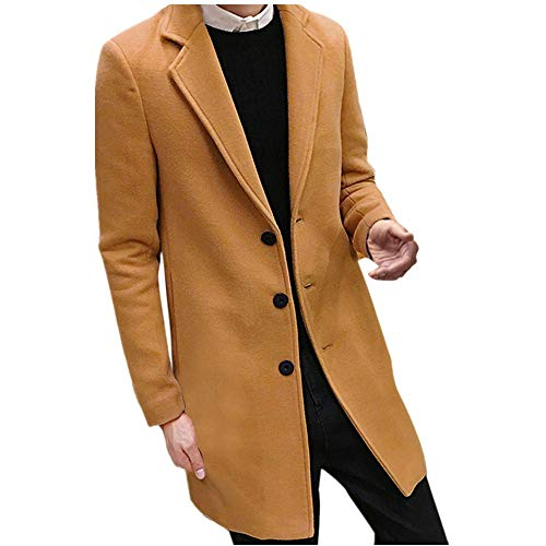 MERICAL Herren Formal Einreiher Figuring Mantel Lange Wolle Jacke Outwear