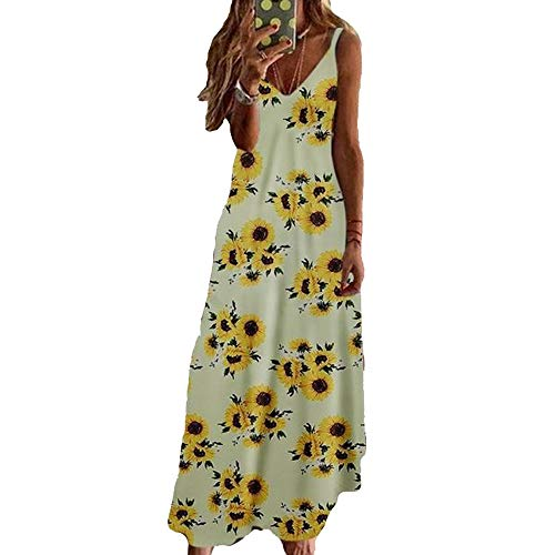Sommer Neue Damen LäSsig V-Ausschnitt Bedruckt äRmellose HosenträGer Langes Swing-Kleid