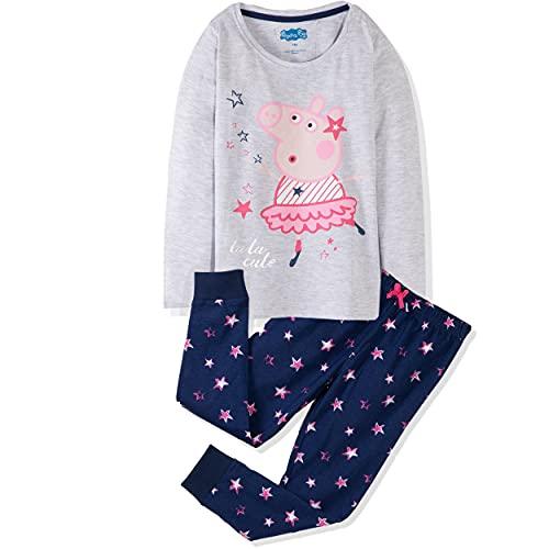 Peppa Pig Character Mädchen Schlafanzug kurz/langärmelig 100{f32213e1b50dd55613f9b0bd99f9bc19152f2ce084e4d33f11e1cb04eac7a162} Baumwolle Pyjama Set T-Shirt und Hose oder Shorts 1-6 Jahre, Grau / Marineblau, 5-6 Jahre