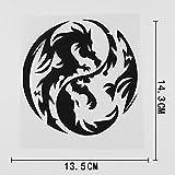 PMSMT 2 pegatinas para coche divertidas, diseño de dragón Yin Yang fantasía, vinilo para coche, color negro y plateado 13 5 x 14 3 cm