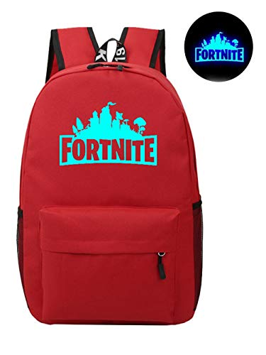 Fort Battle Royale Backpack, Luminous Logo Kids School Bag Red,Gaming