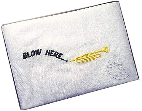 Cute Play On Words Blow Here Handkerchief With Embroidered Design