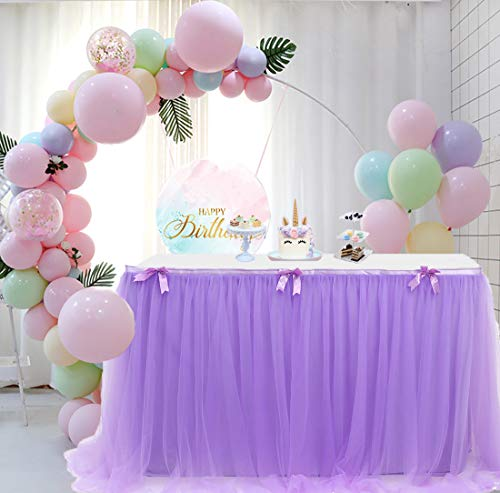 Aysimple 9ft Lavender Tulle Table Skirt for Rectangle or Round Tables Tutu Tablecloth for Baby Shower Party Wedding Birthday Decoration (L9(ft) H 30in, Lavender)