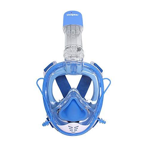 Unigear Máscara De Buceo Gafas Snorkel Facial Completa Adulto 180° Vista Panorámica con Camara Deportiva para Bucear Natación Anti-Vaho Anti-Fugas (Azul)