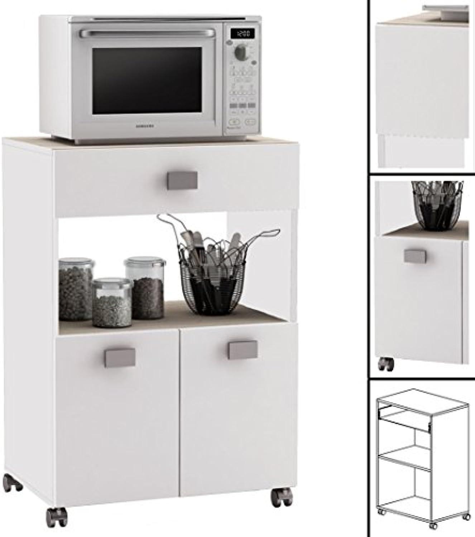 Habeig Küchenwagen  145 AKAZIE Weiss Küchentrolley Rollen Schublade Küchenschrank Küchenhelfer Holz