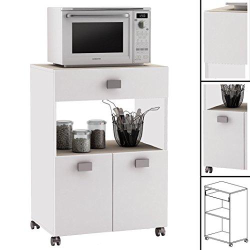 habeig Küchenwagen #145 AKAZIE Weiss Küchentrolley Rollen Schublade Küchenschrank Küchenhelfer Holz