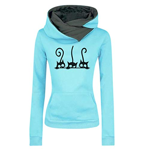 ZODOF Sudadera con Capucha para Mujer Moda Manga Larga Impresión de Gato Camiseta Tops Abrigos Pullover Hoodies Uniforme Unisex(M,Azul Claro)