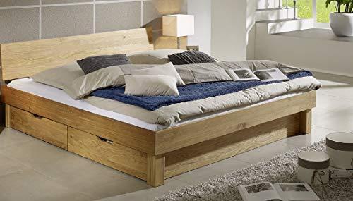 Main Möbel bed met bedlade 'Lewis' 140 x 200 cm wild eiken massief