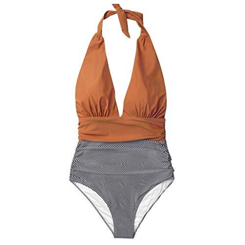 aihihe Women s Bathing Suit Padded One Piece Swimsuit Deep V-Neck Halter Swimwear Tummy Control High Waisted Beachwear Orange