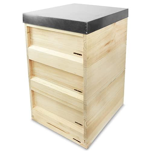 APIFORMERS Zander Beute - ZN 10 - aus Weymouthskiefer - Bienen - Nachhaltig - Imkereibedarf - 10 Waben - Massivholz - Naturprodukte - Tierzubehör