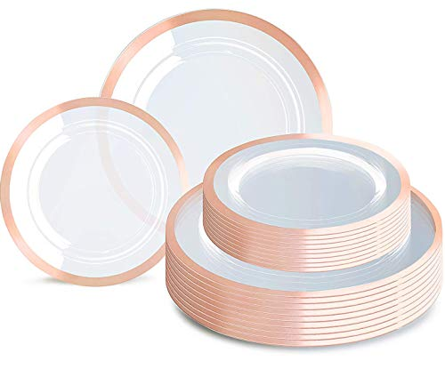 120pcs Rose Gold Plates, Clear Plastic Plates, Premium Plastic Plates, Rose Gold Color Includes 60 Rose Gold dinner Plates 10.25' and 60 Durable Salad Plates 7.5', Supernal