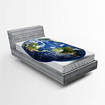 Lunarable World Map Fitted Sheet Simple Style Planet Earth Picture from The Space Satellite Continents Clouds Picture Soft Decorative Fabric Bedding All-Round Elastic Pocket Twin Size Green Blue