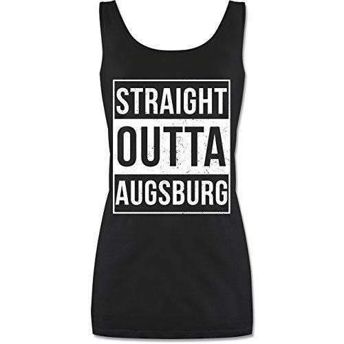 Bazi Shirts Schwaben Frauen - Straight Outta Augsburg Weiss - L - Schwarz - Geschenk - P72 - P722 Damen Long Top