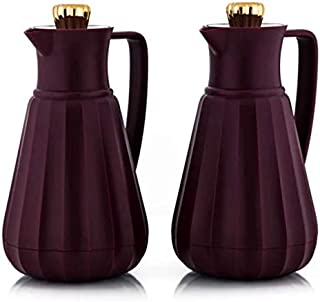 Shimizu Plastic Vacuum Flask 1 LITER Set of 2-Bean Red with Gold Lid (Olive Green)