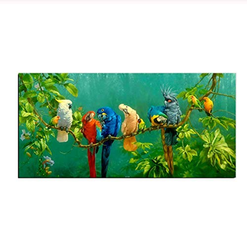 Zhaoyangeng moderne aquarel bos vogel muur kunst schilderen papegaai rusten op de tak Canvas Posters voor woonkamer huis Decor- 50X100Cm geen frame