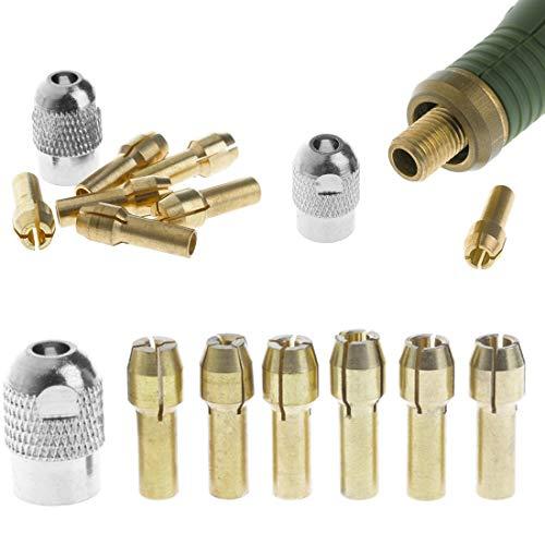 HYY-YY Durable Kit de accesorios de herramientas eléctricas 7 piezas 1-3 mm Silver nut Brass Chuck Mini Drill Brass Collet Chuck para herramientas rotativas (color: marrón)