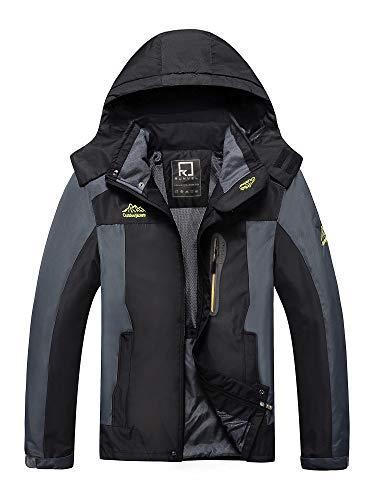 R RUNVEL Herren Wanderjacke Wasserdicht Regenjacke Funktionsjacke Outdoor Hardsheljacke Übergangsjacke mit Multi-Taschen, schwarz, 54 56