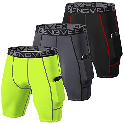 ZENGVEE 3er Pack kompressionshosen Herren Schnelltrocknendes Funktionsunterwäsche mit Seitentaschen Tights Kurz Hose Compression Shorts