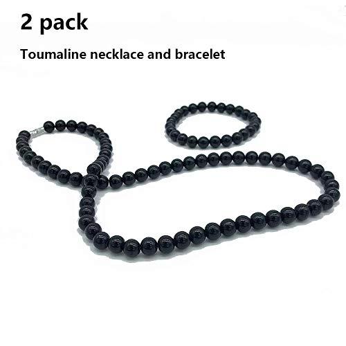 Collier de cristal de tourmaline noire avec ions noirs 8mm perles de tourmaline brute (collier et bracelet)