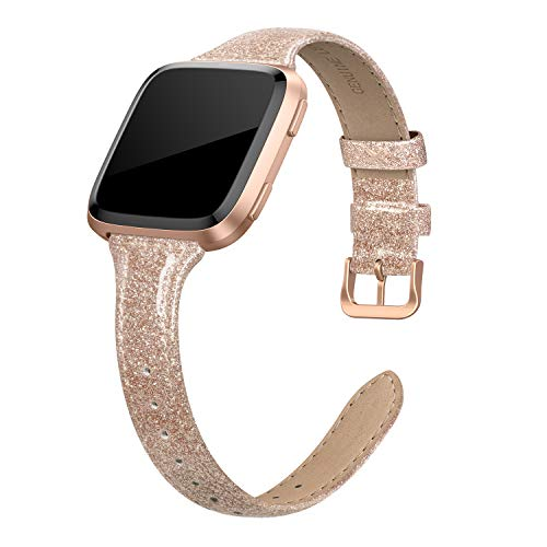 SWEES Leather Bands Compatible Fitbit Versa, Genuine Leather Slim Thin Dressy Strap Replacement Wristband for Women Small, Black, White, Champagne, Rose Gold, Brown, Tan, Pink