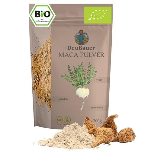 DeuBauer ® Maca Pulver roh aus der Maca-Wurzel - vegan, glutenfrei, natürlich & proteinreich I Maca, Macapulver, Maccapulver (200)