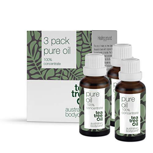 Australian Bodycare Pure Oil 3 x 30ml, Tea Tree Oil puro 100%   Olio di Melaleuca di qualità farmaceutica   Allevia le irritazioni cutanee   Oli essenziali aromaterapici   Naturale e adatto ai vegani