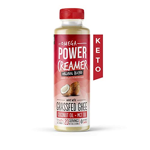 Omega PowerCreamer - Original Keto Coffee Creamer - Grass-fed Ghee, MCT Oil, Organic Coconut Oil | Liquid Blend | Supports Weight Loss and Energy | Low Carb, Sugar Free, Unsweetened (20 Servings)
